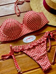 Conjunto Pinup Vichy Vermelho Empina Bumbum Ombro