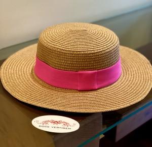 Chapéu Paris Boater Flexível Faixa Pink Neon